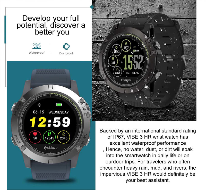 0f0275a4819 Buy Zeblaze VIBE 3 HR Smartwatch IP67 Waterproof | GearVita
