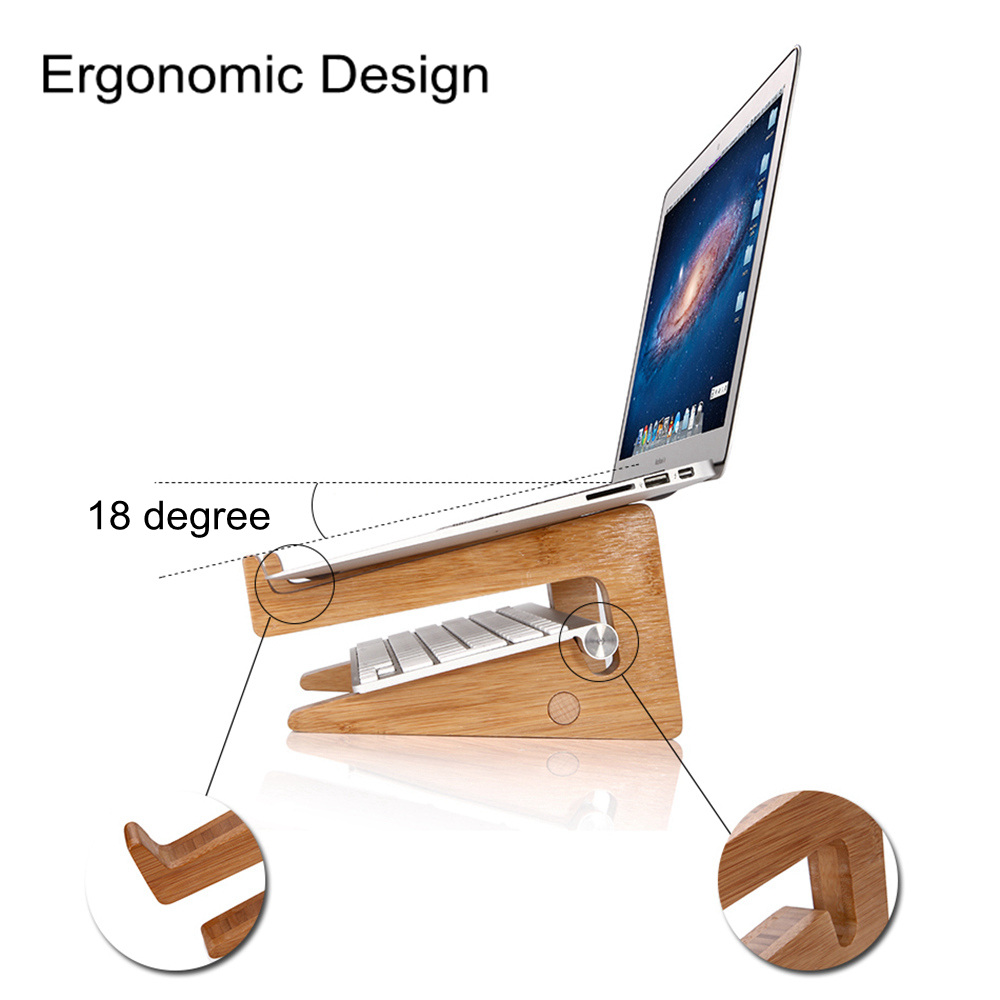 SeenDa Wooden Folding Desktop Stand Bracket for Laptop iPad Multifunction Detachable DIY