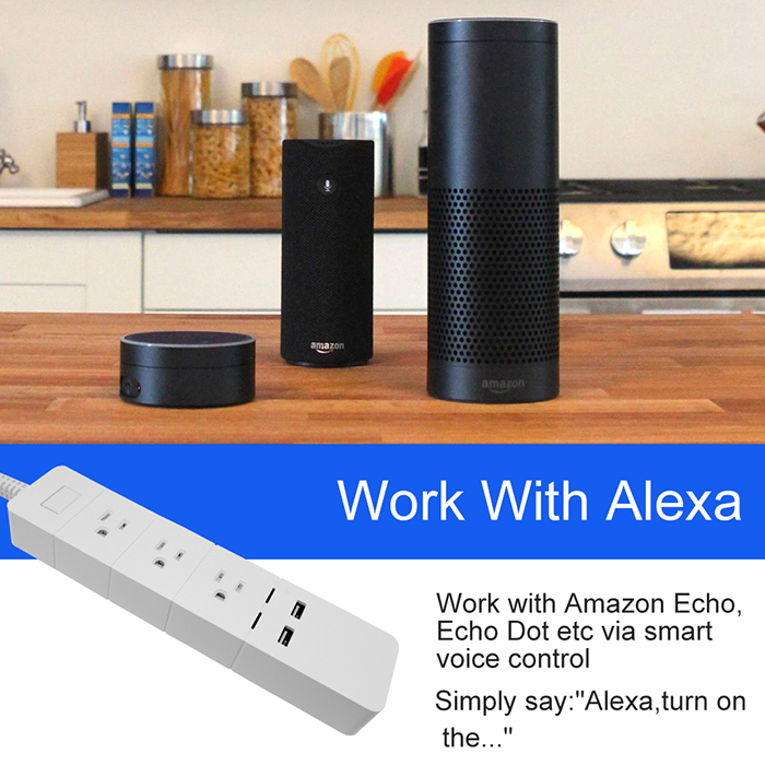 you can control your smart socket simply with your voice on Google home, Amazon Echo or Dot. Rename each port of the power strip with a meaningful name (e.g.coffee maker) and Alexa/Google Assistant will help you do the rest