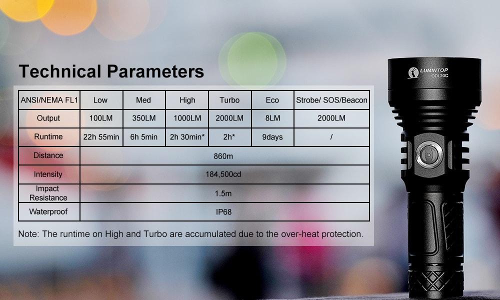 odl20c tactical flashlight