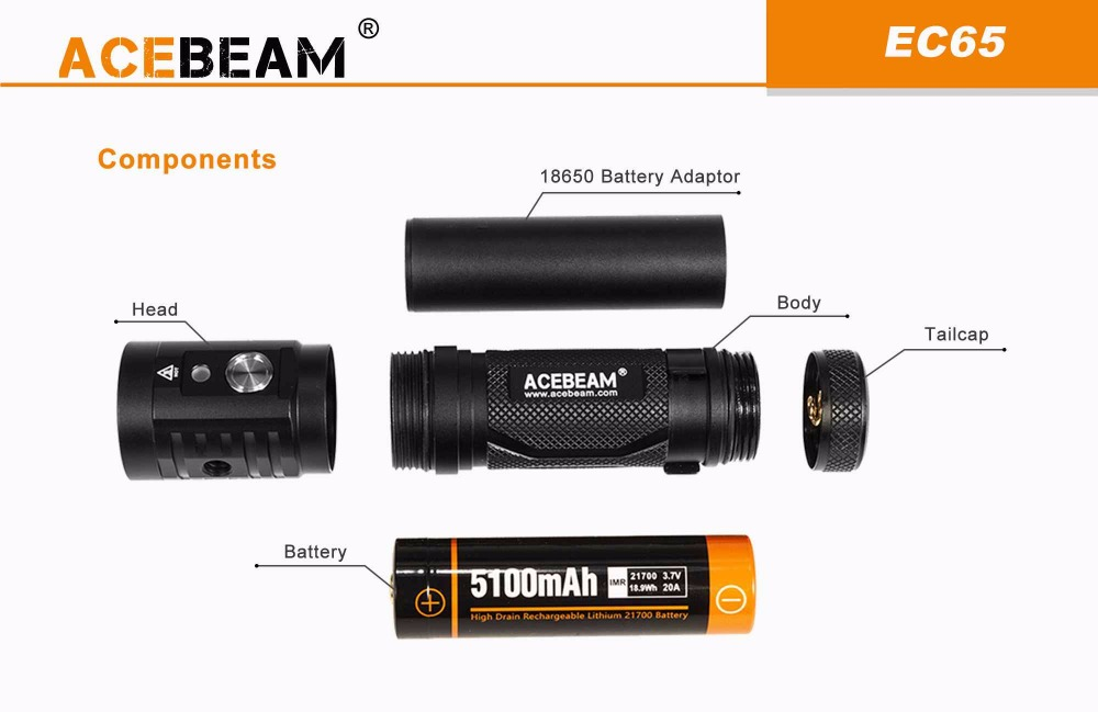 acebeam ec65 rechargeable flashlight