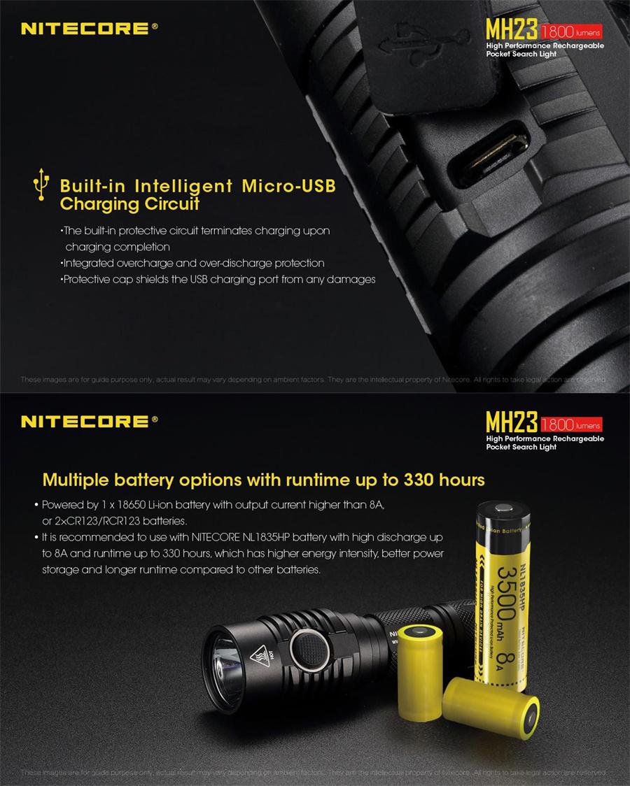 nitecore mh23 led flashlight