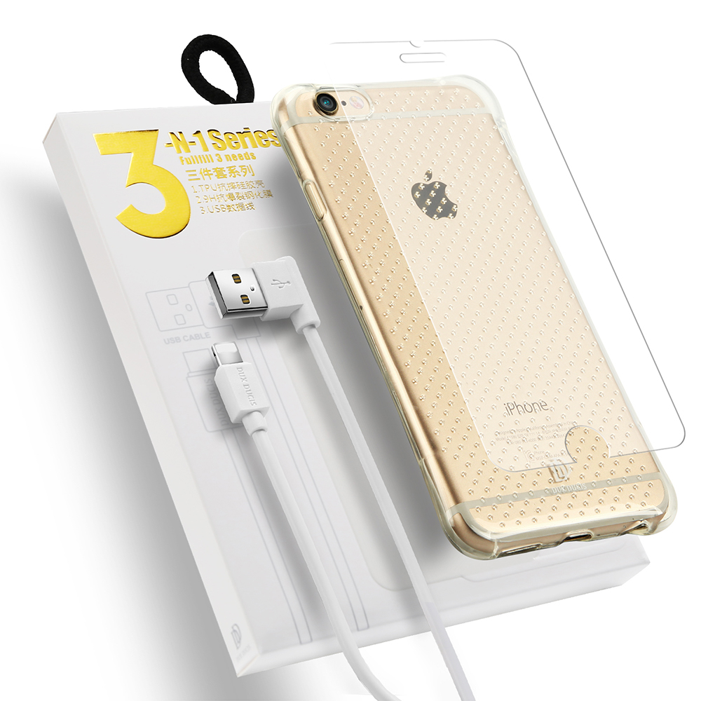 DUCIS DUX Back Case+ Tempered Glass+ USB Cable for iPhone 6 6s 6p 6sp