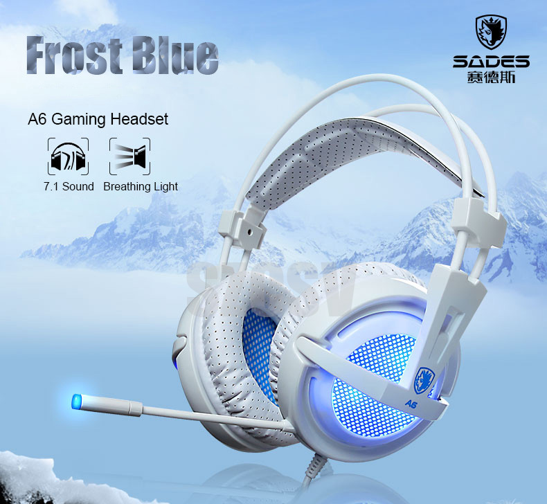 Sades A6 Stereo USB Gaming Headset with Microphone LED Light for PC Gamer