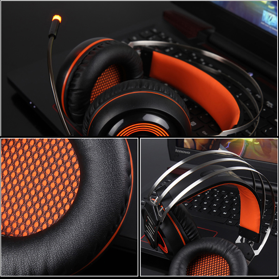 Sades A7 USB Gaming Headset with Mic Led for PC Laptop Gamer