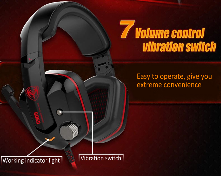 Somic G909 Gaming Headset for PC Gaming with Mic Volume Control Vibration Function