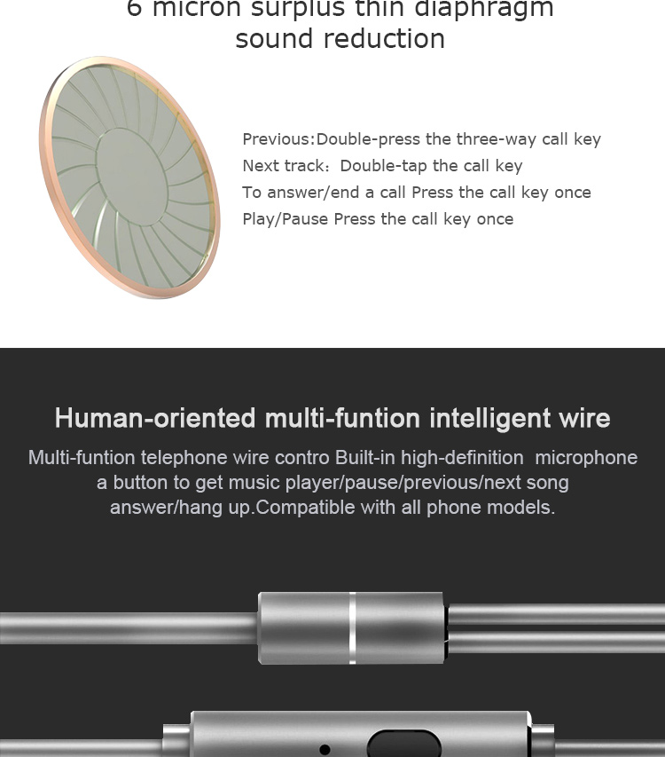Uiisii GT500 Metal HiFi In-ear Headphone Noise Isolating for iPhone 6 Meizu Xiaomi PC