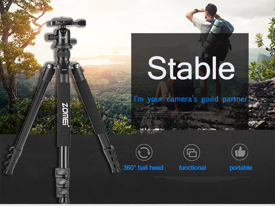 Zomei Q555 Professional Camera Tripod with Ball Head for Digital SLR Camera