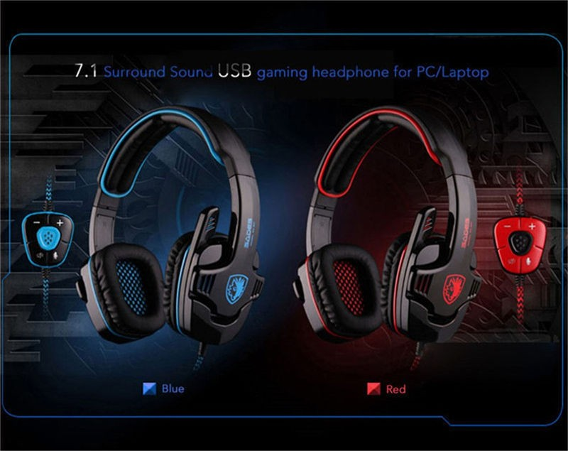 Sades SA-901 USB Gaming Headset with Microphone Noise Canceling for PC Gamer