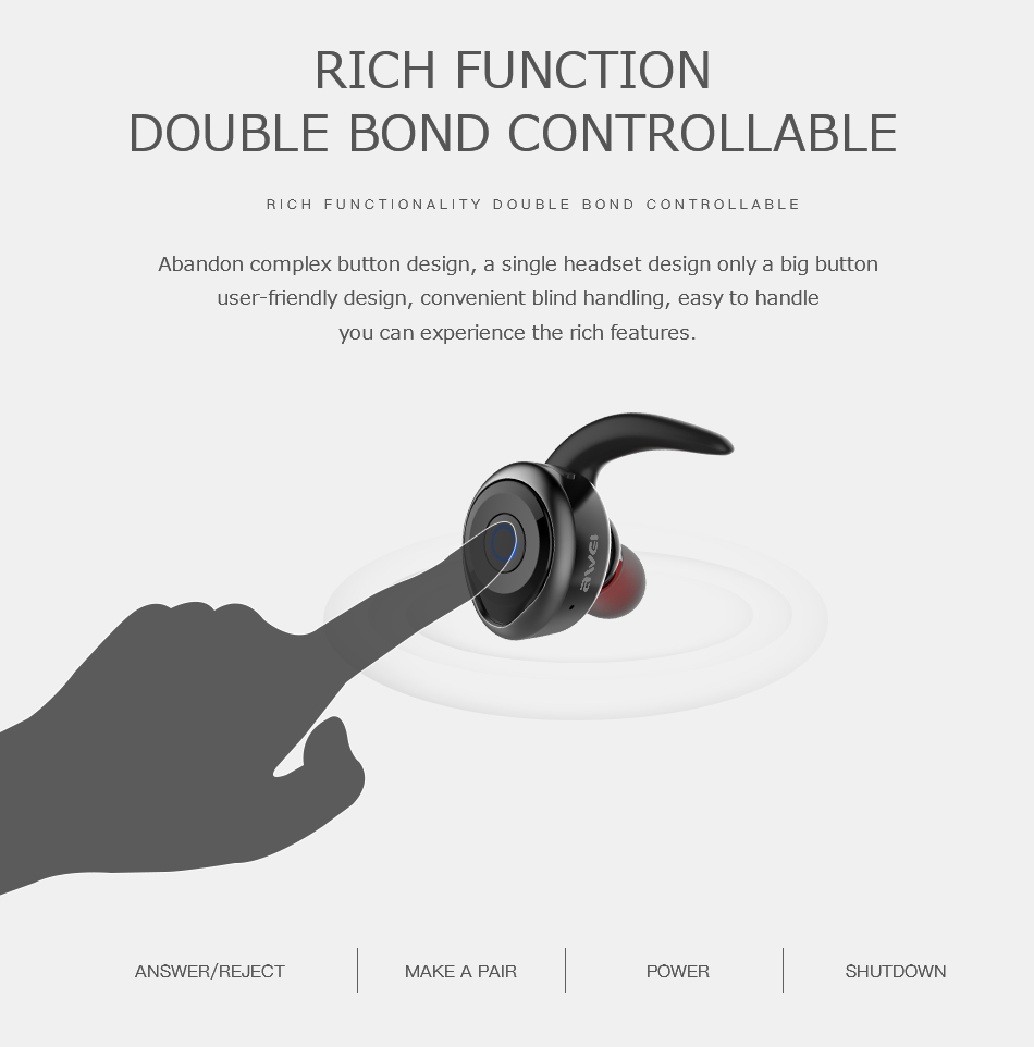 AWEI T1 Wireless Bluetooth Earphone with Microphone for iPhone Samsung Xiaomi Huawei