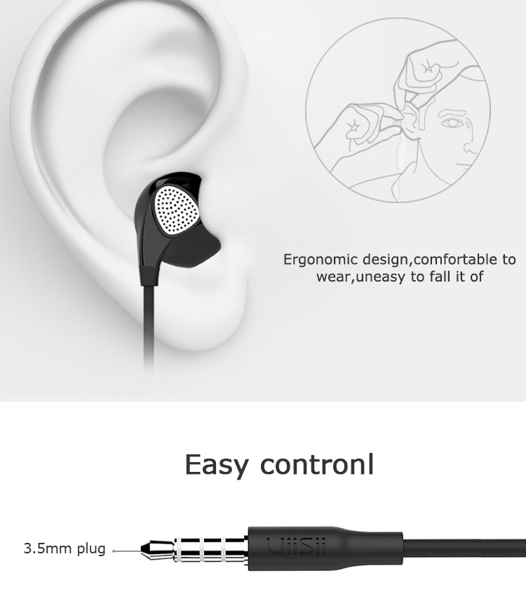 Uiisii U1 In-ear Headphones with Microphone for iphone 6 6s 5s Xiaomi