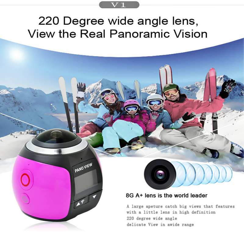 JZZH V1 Wifi Mini 360 Degree Action Camera Ultra HD Panorama VR Camera