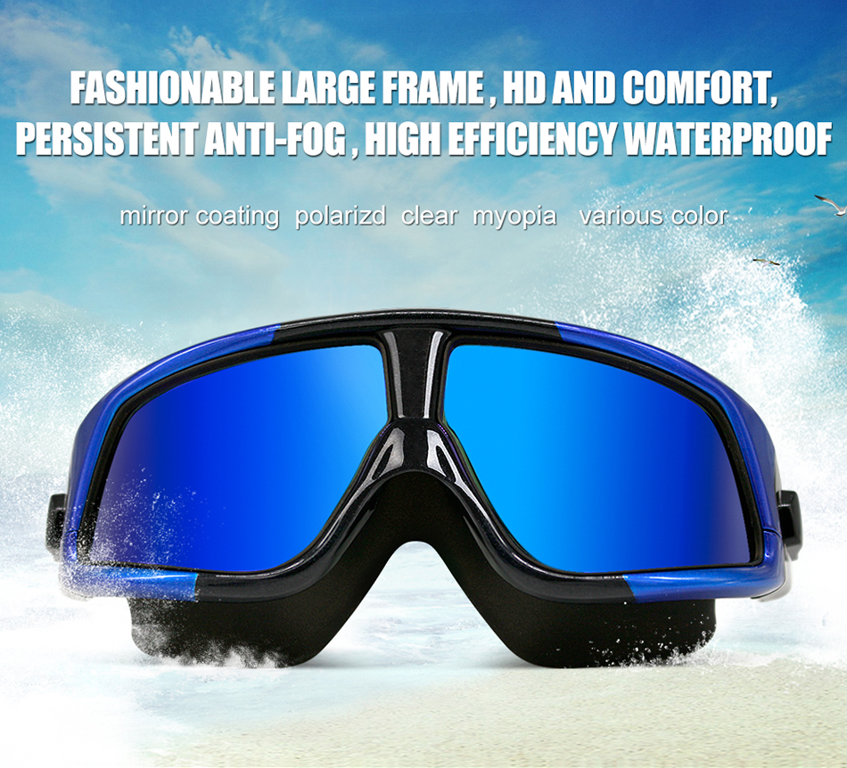 COPOZZ UV Anti-Fog Swimming Goggles Comfortable Silicone Large Frame