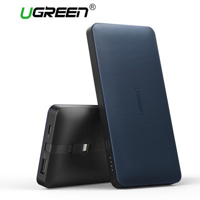 Ugreen PB102 10000mAh Power Bank Built-in 8 Pin Charge Cable Support Fast Charge