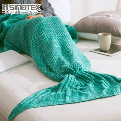 Mermaid Tail Blanket Super Soft Handmade Yarn Knitted Hook Blanket