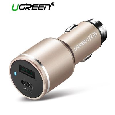 Ugreen CD130 Car Mobile Phone Charger Universal Dual USB Smart Type-C