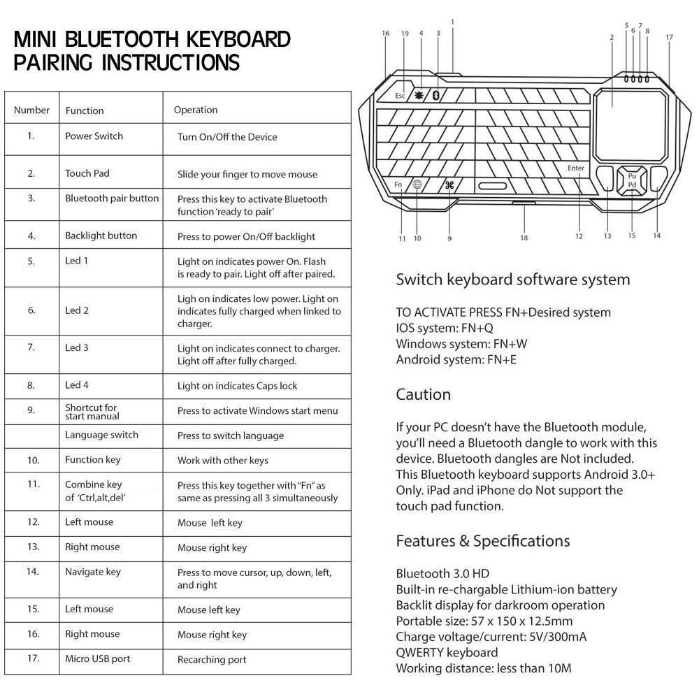 touchpad bluetooth keyboard