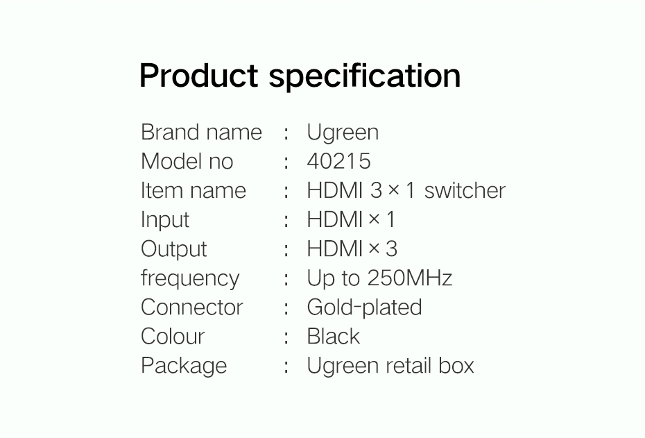 3 input to 1 output hdmi switcher