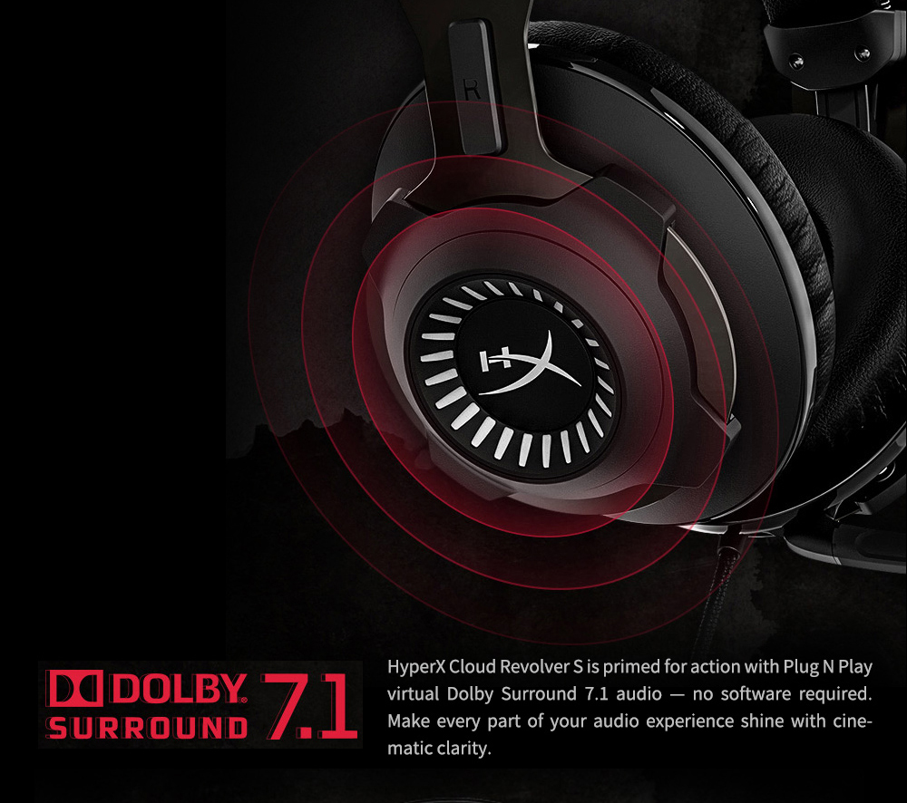 Kingston HyperX Cloud Revolver S Wired Gaming Headset with Virtual Dolby 7.1 Surround Sound for PC & PS4