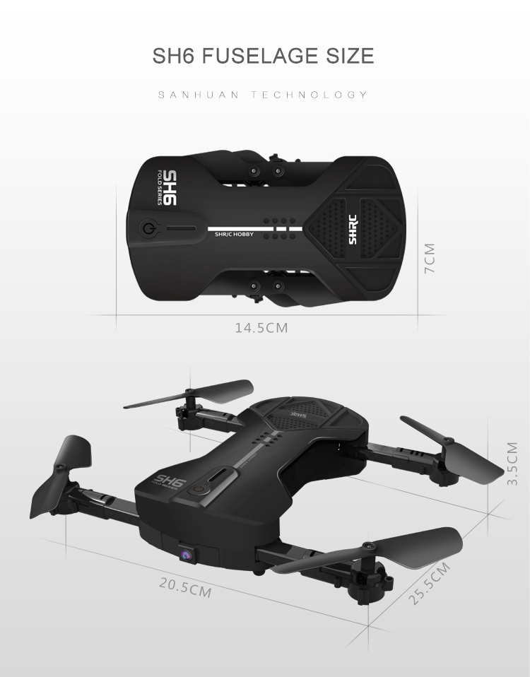 HR SH6 Foldable RC Drone with 2MP WiFi FPV Camera