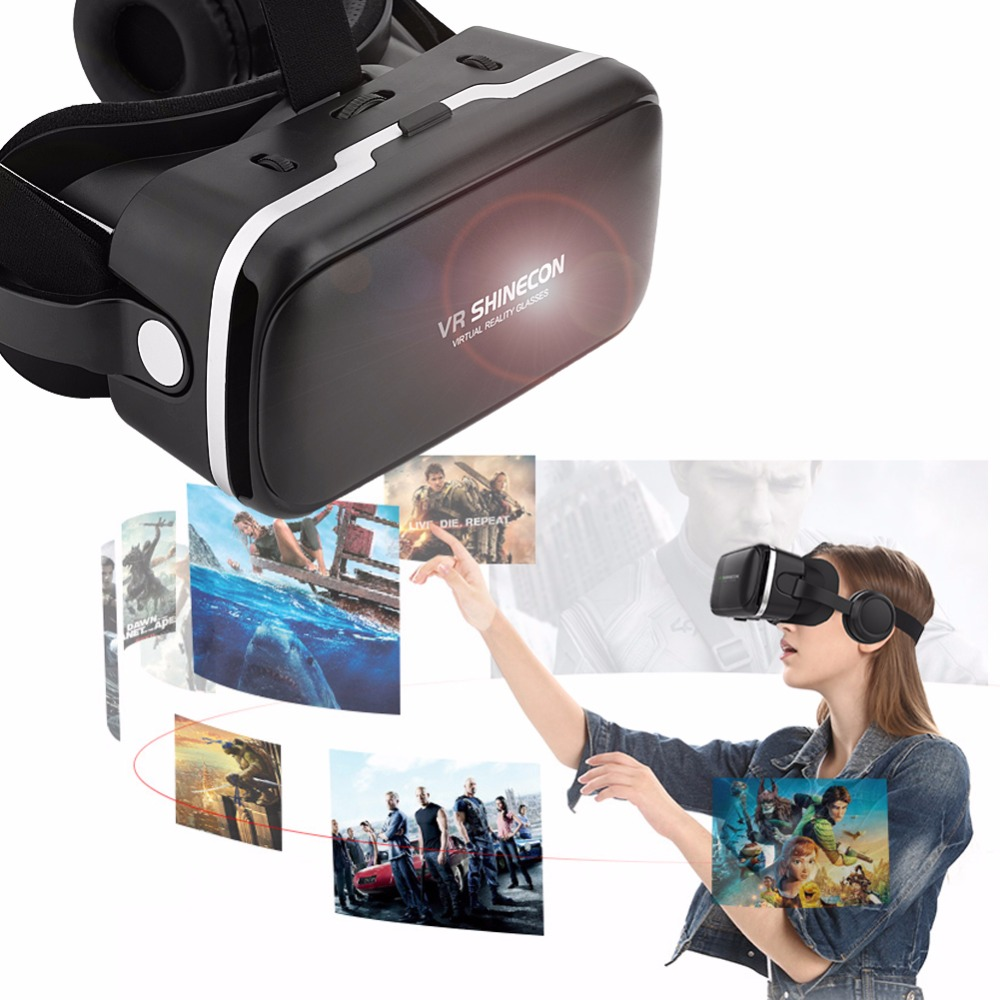 VR SHINECON SC-G04E Virtual Reality 3D Glasses with Builted-in Headphone