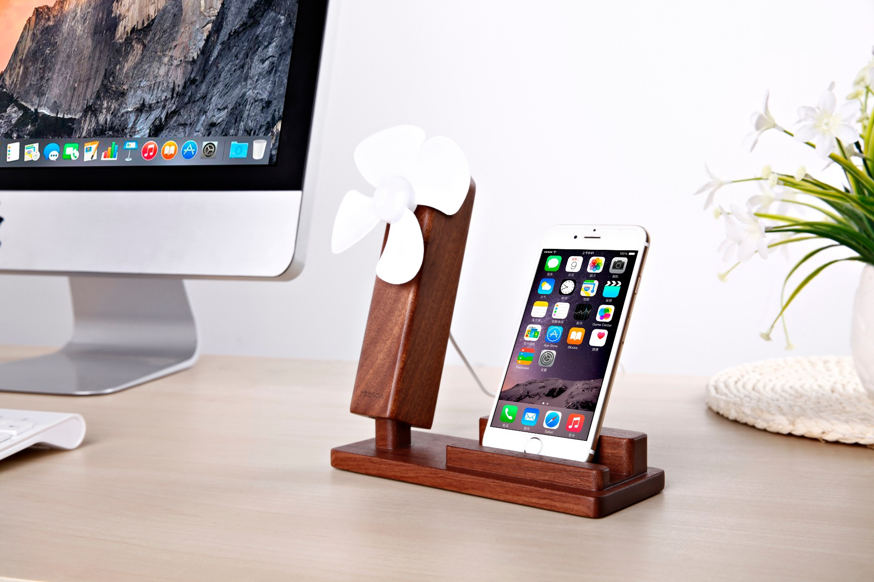 Seenda IPS-Z10 Wooden Phone Holder with Desktop Mini Fan