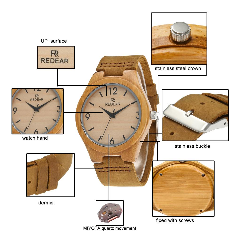 Redear SJ1448-9 Wooden Quartz Watch-Male Brown