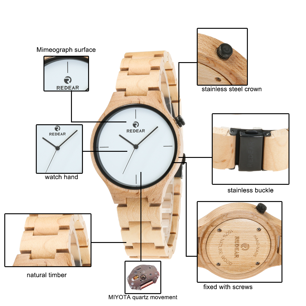 Redear SJ1603-1 Wooden Quartz Watch-Male