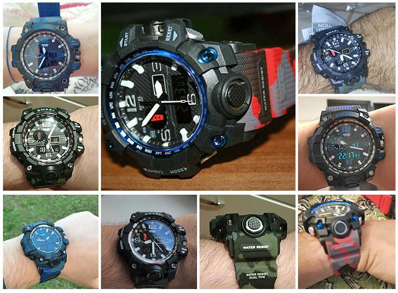 SMAEL 1545B Men Watch Dual Time Camouflage Waterproof LED Digital Watch