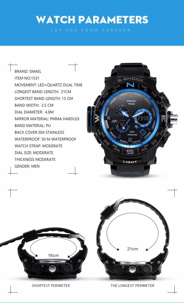 SMAEL 1531 Sports Men's Watch Digital Double Display Military Shockproof  Clock