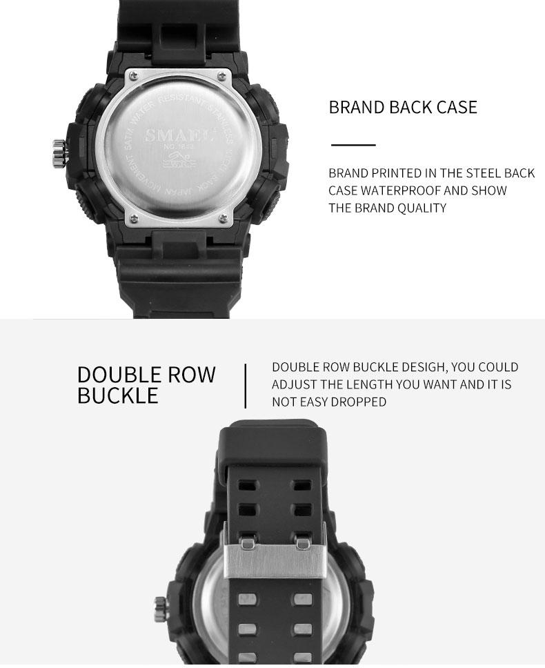 SMAEL 1642 Men's Sport Waterproof Watch LED Dual Display Military Clock