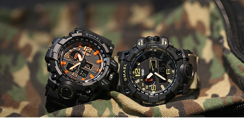 SMAEL 1545B Men Watch Dual Time Camouflage Waterproof LED Digital Watch