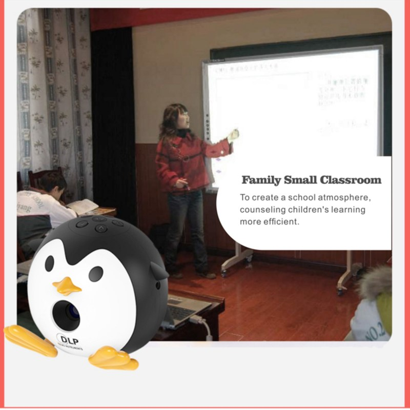 UNIC Q1 Mini DLP Portable Projector Cute Penguin Cartoon LED Home Video Player