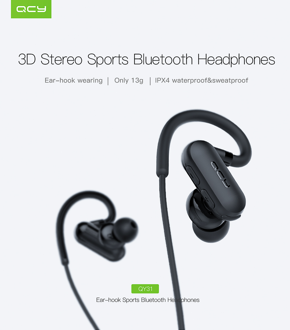 QCY QY31 Wireless Stereo Headphones Bluetooth V4.1 Sports and Portable Storage