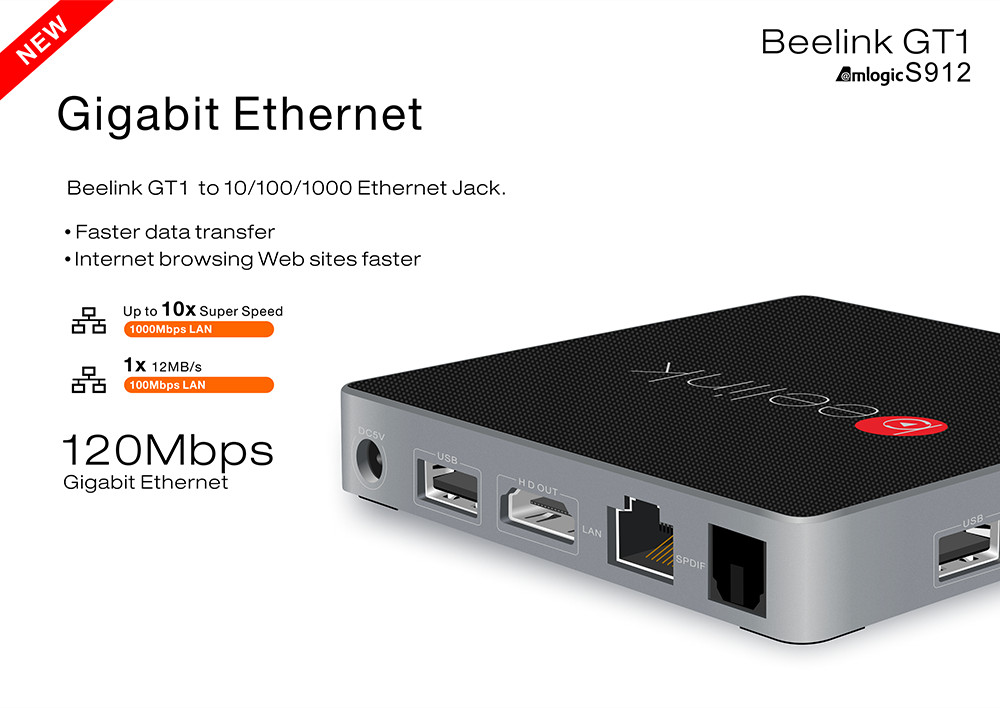 Beelink GT1 TV Box Android 6.0 Flash WiFi Bluetooth 4.0 4 K * 2 K KODI