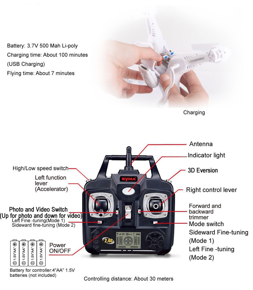 SYMA X5C RC Drone 6-Axis Pilot Helicopter with 2MP HD Camcorder