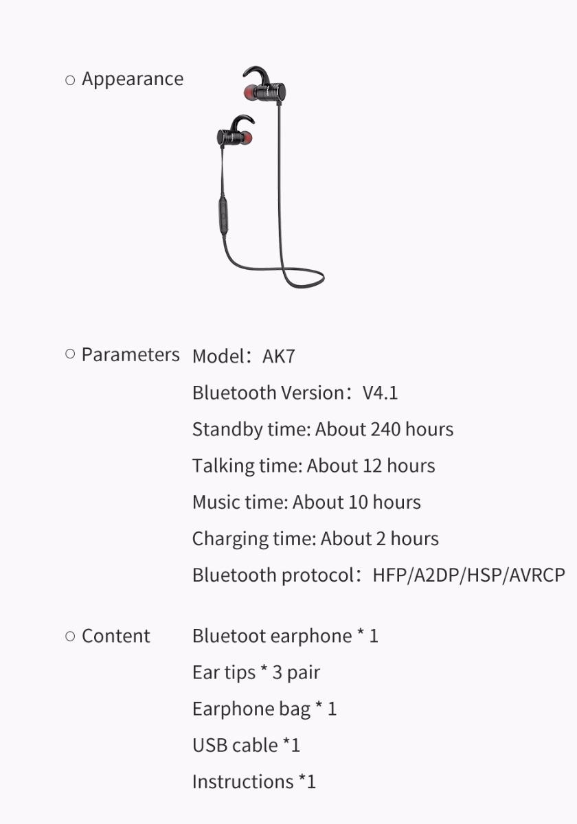 AWEI AK3 Wireless Bluetooth Headset IPX4 Waterproof Speaker