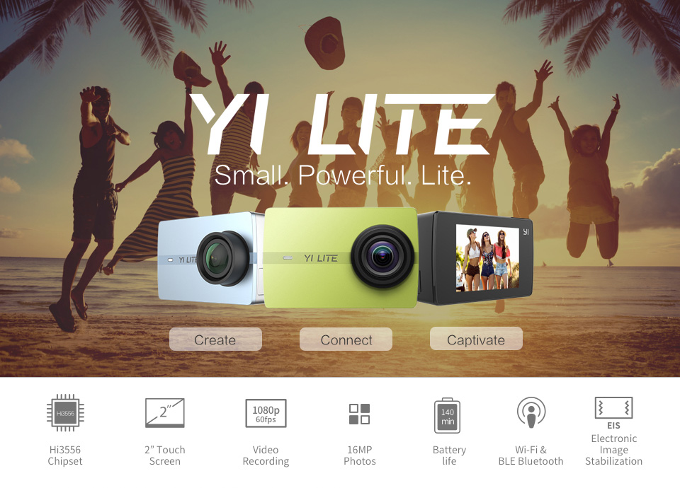 YI Lite Action Camera MP 4K WiFi LCD Screen with 150 Degrees Wide Angle Lens
