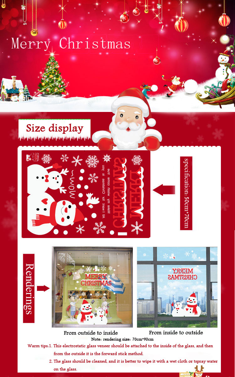 Christmas Snowman Wall Stickers Window Glass Background Decoration Painting PVC Stickers