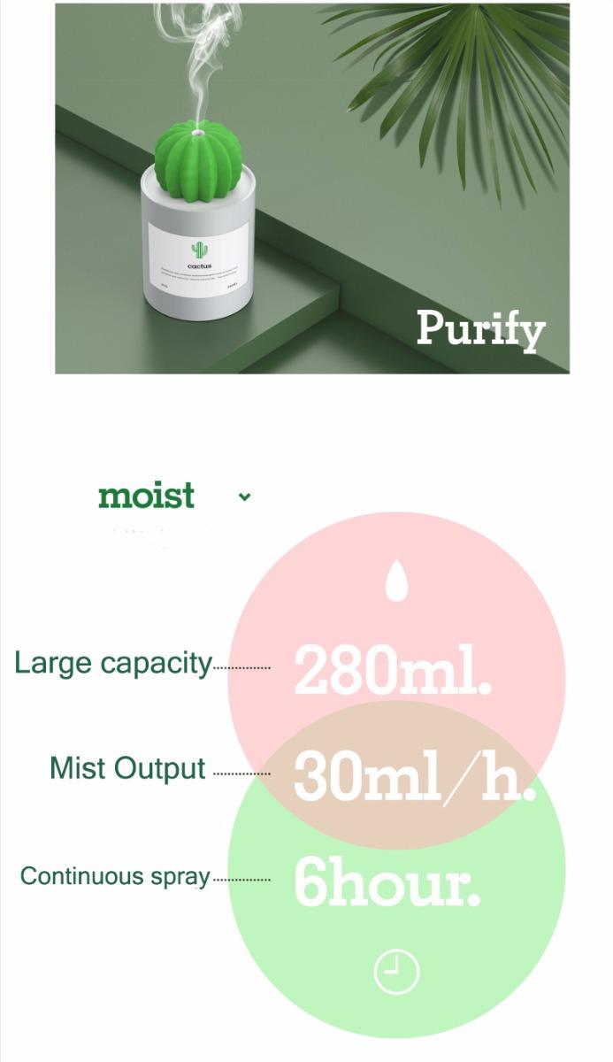 Creative Cactus Ultrasonic Humidifier Mini Portable Mute USB Aroma Air Purifier