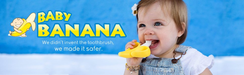 DAYCHEER Baby Training Toothbrush Banana Shape Silicone Eco Friendly Toy Toothbrush