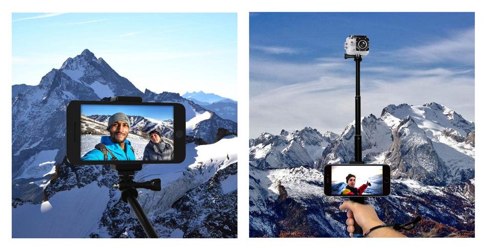 SOOCOO 19'' Waterproof Selfie Stick Grip Adjustable Telescopic Monopod Pole