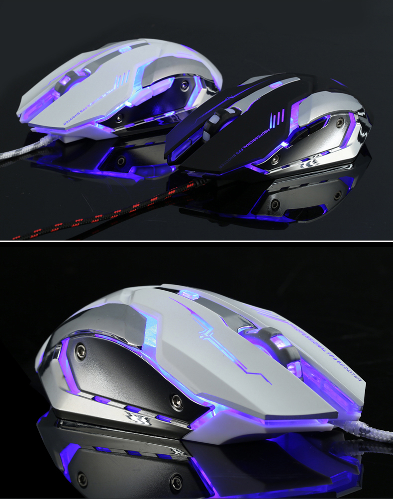 Seenda V8 Wired Optical Gaming Mouse Silent USB 3200 DPI with LED Backlight