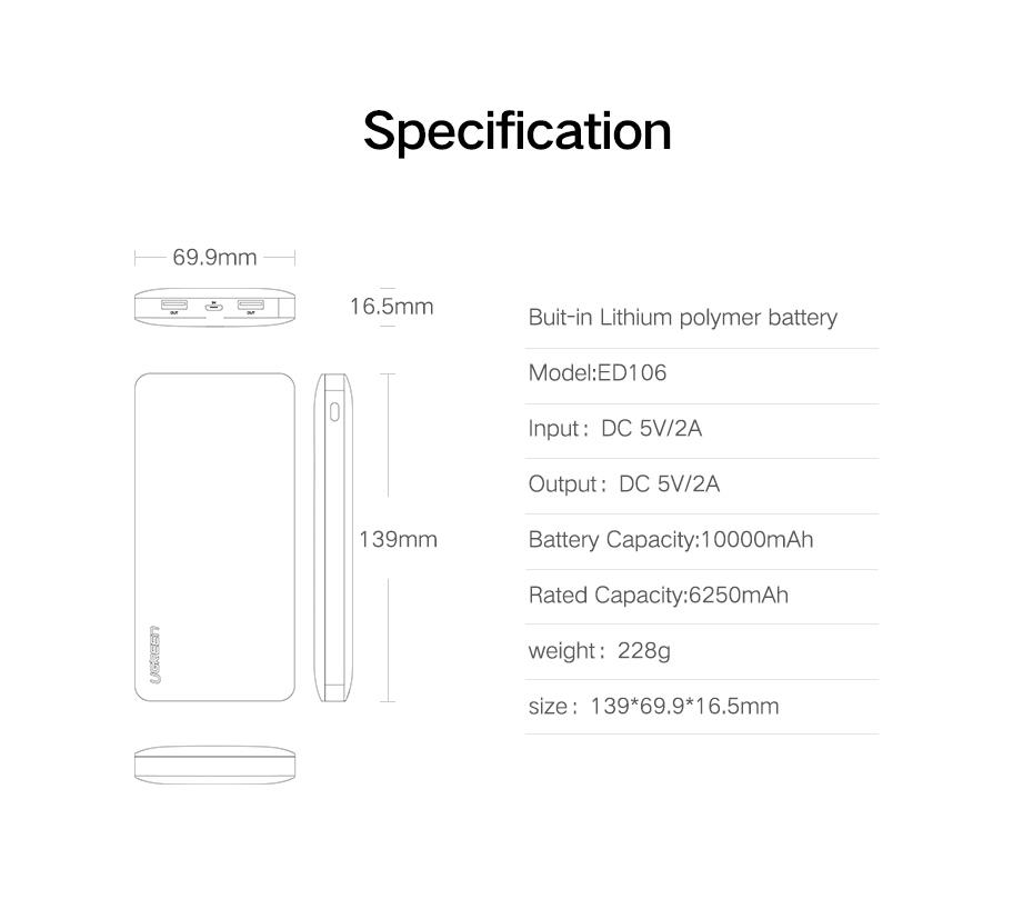 Ugreen ED106 Power Bank 10000mAh Mobile Phone Charger