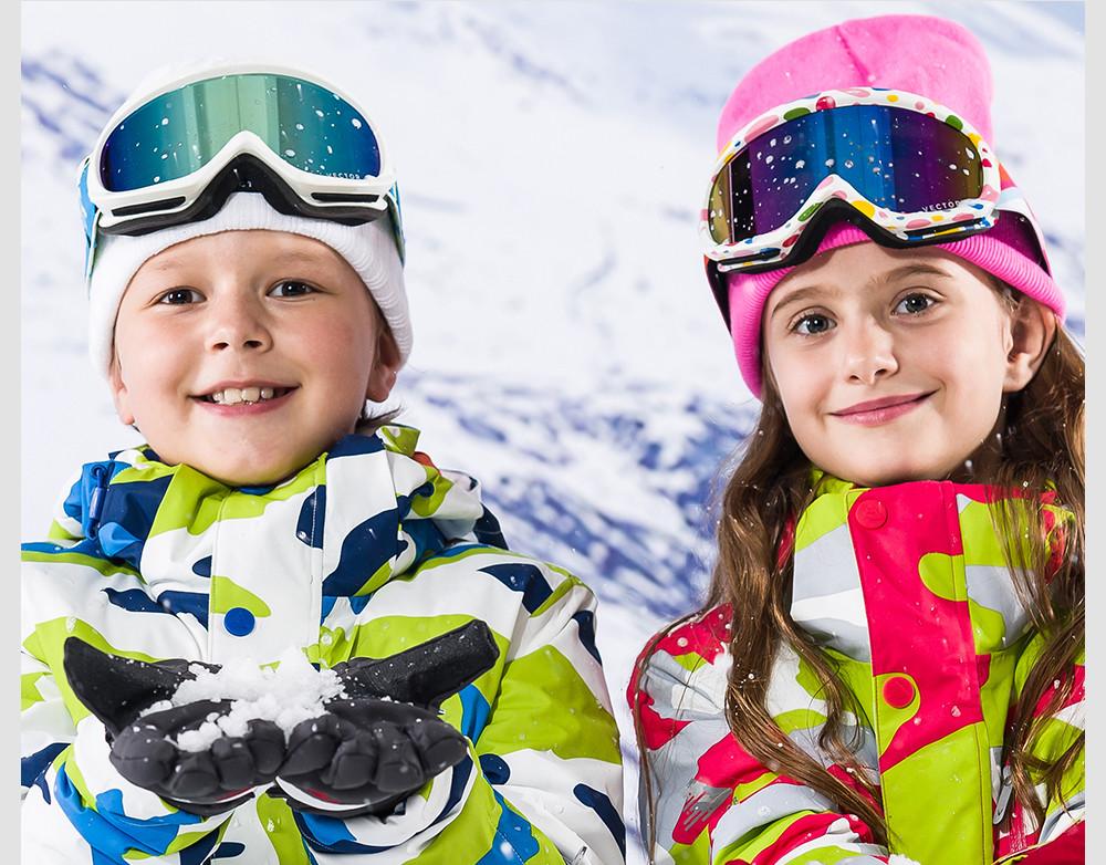 VECTOR Kids Ski Goggles UV400 Anti-fog Winter Girls Boys Eyewear