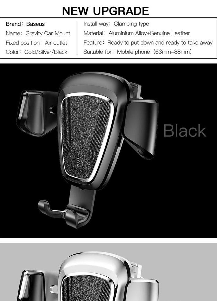 Baseus Gravity Car Air Vent Holder 360 Degree Rotation Phone Stand