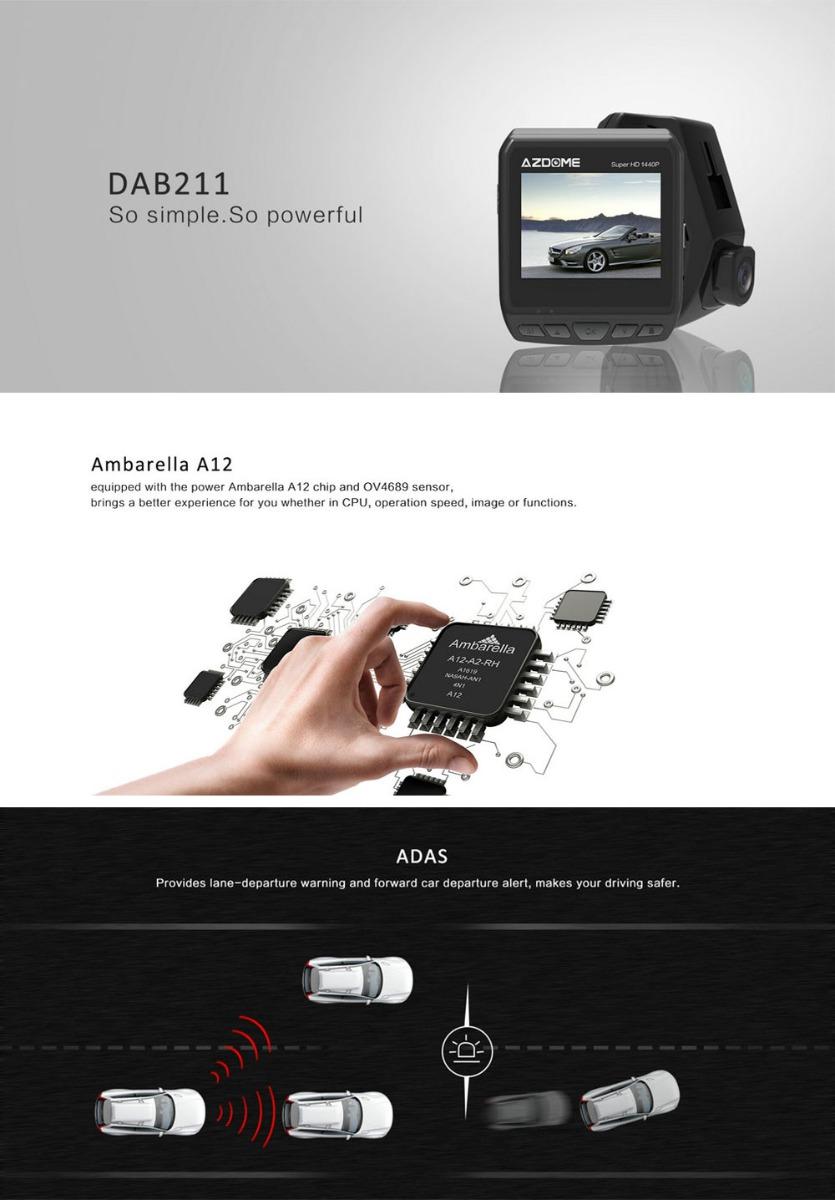 Azdome DAB211 Full HD Car DVR GPS Night Vision Dash Cam