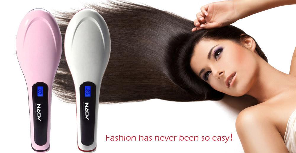 NASV NASV-100 Straight Hair Comb Brush with LCD Display