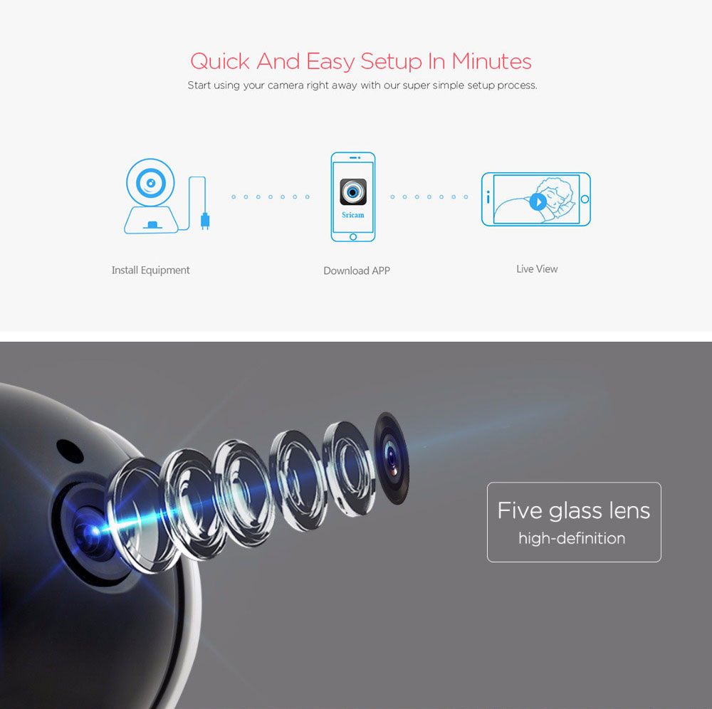 Sricam SP020 720P WiFi IP Camera Home Security Night Vision Wireless Webcam