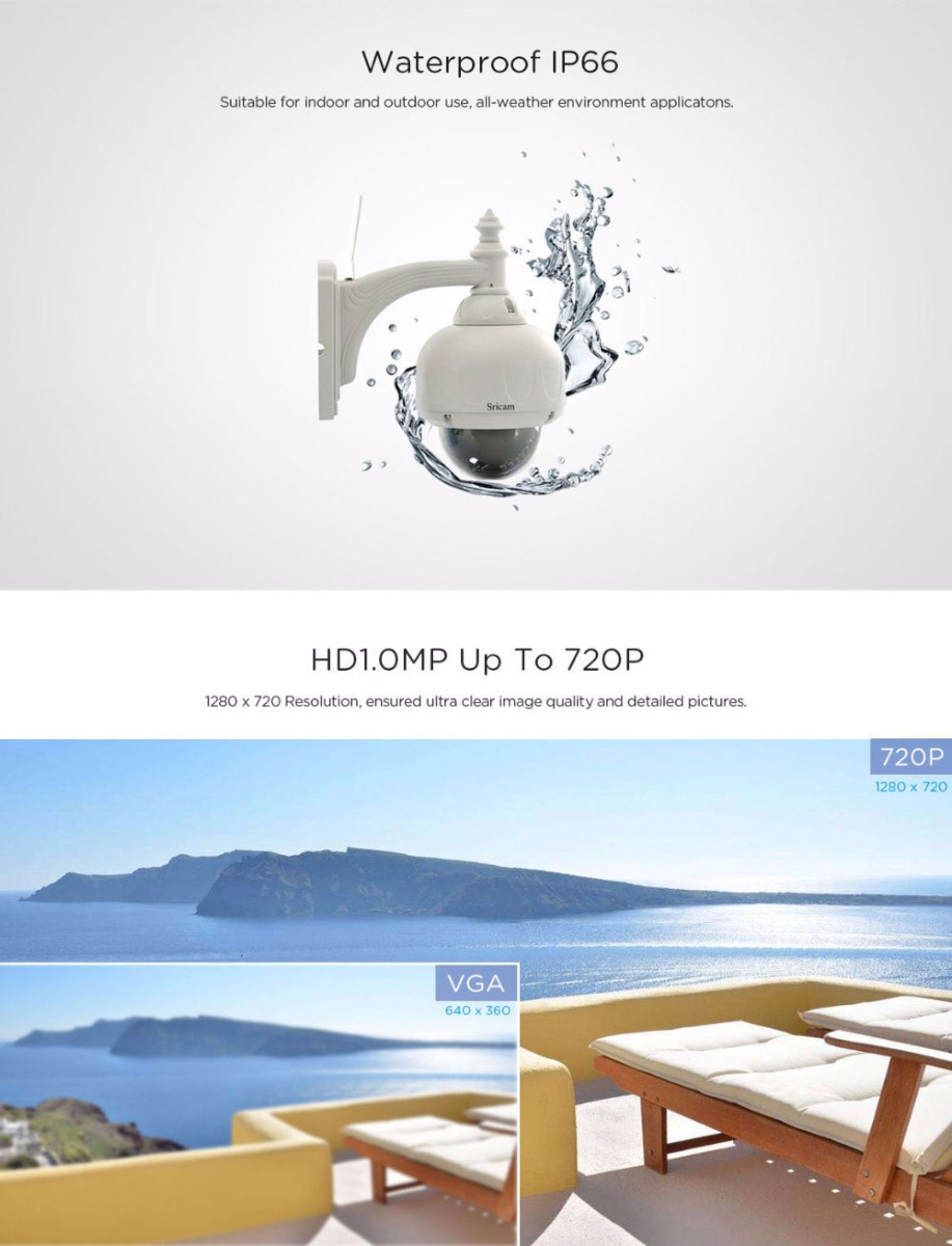 Sricam SP015 720P WiFi Waterproof IP Camera Wireless IR-cut Security Surveillance